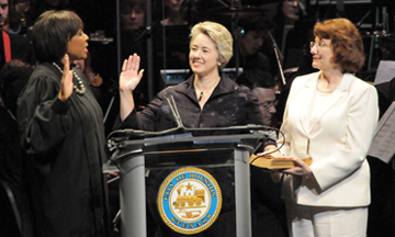 Houston Mayor Annise Parker, shown being sworn in January, is only the second-highest-paid openly LGBT government employee in Texas.