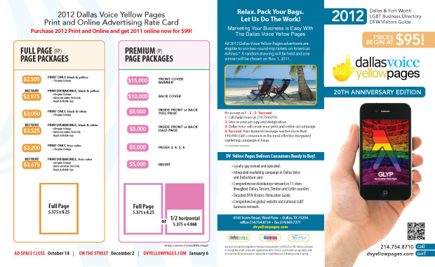 Dallas Voice Yellow Pages Rate Card 2012