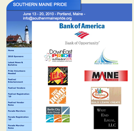 Sponsors for Southern Maine Pride