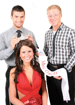 Hunter Daniel, left, and Chris Bertrand with the current Miss Dallas Ali Burrow