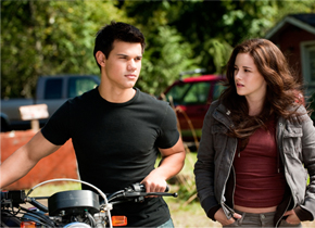 TEEN WOLF | Purse-lipped Bella (Kristen Stewart) strings along ab-fab Jacob (Taylor Lautner) in 'Eclipse.'