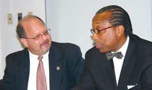 Dr. Steven Harris, left, and Dallas County Commissioner John Wiley Price