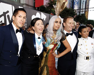 Pop star Lady Gaga attended the VMAs on Sunday night