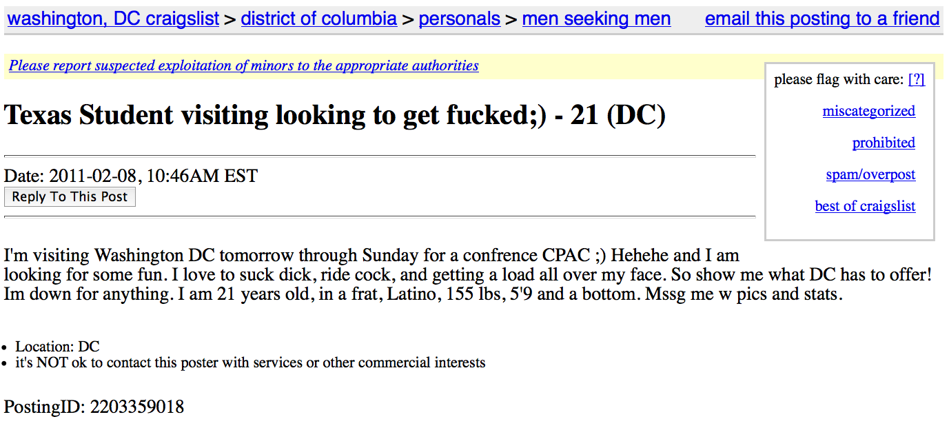 Craigslist ad of the day: Looking at CPAC - Dallas Voice