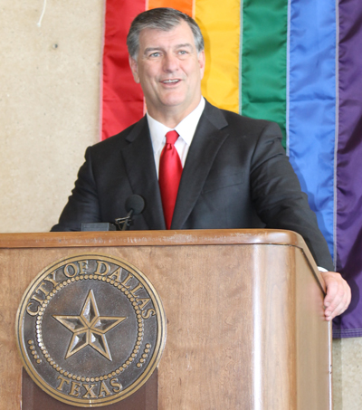 Mayor Mike Rawlings speaks during an LGBT Pride Month Reception at City Hall in June 2011.
