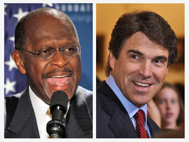 Herman Cain and Gov. Rick Perry