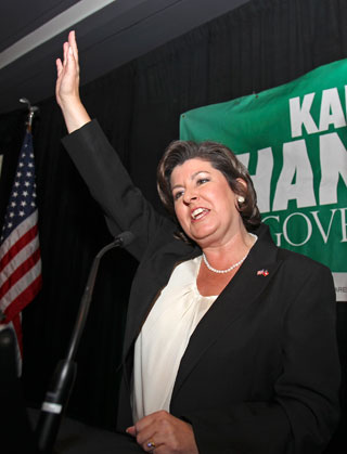 SAYING GOODBYE  |  Karen Handel, shown waving to supporters during her 2010 Georgia gubernatorial campaign, resigned Feb. 7 as senior vice president for public policy at Susan G. Komen for the Cure. (Associated Press)