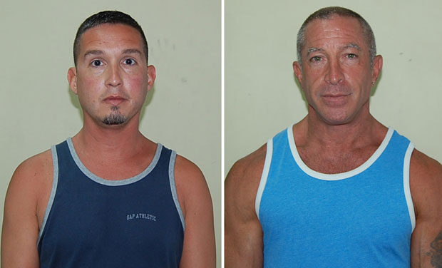 MISSING THE BOAT  |  John Hart, left, and Dennis Jay Mayer, shown in booking photos provided by the Dominica Police Department, had to fly back to California because their cruise ship set sail without them after they were arrested on sodomy charges in Dominica. (Associated Press)