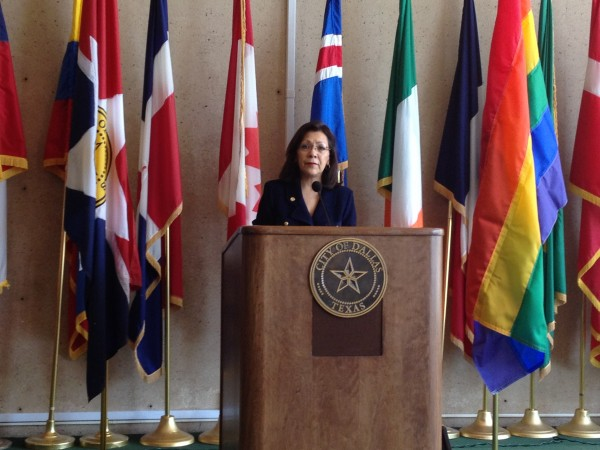 Councilwoman Delia Jasso addresses an audience of  about 80 people at the LGBT Pride month kick-off Wednesday in the Flag Room at City Hall. (John Wright/Dallas Voice)