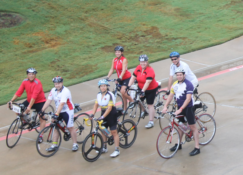 Group pretending they actually ride during the Lone Star Ride