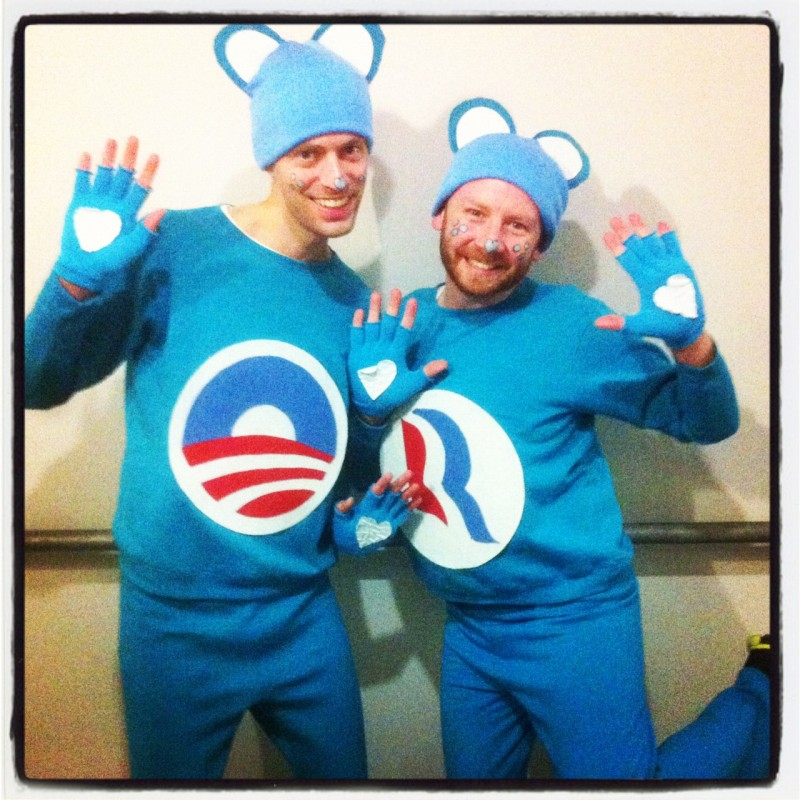 Costume of the year: Obamacare Bear & Romneycare Bear, Identical 'Man-Dates'