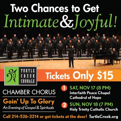 Turtle Creek Chorale's Chamber Chorus performs this weekend
