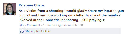 Kristen Chapa writing letter to family of Sandy Hook shooting victim