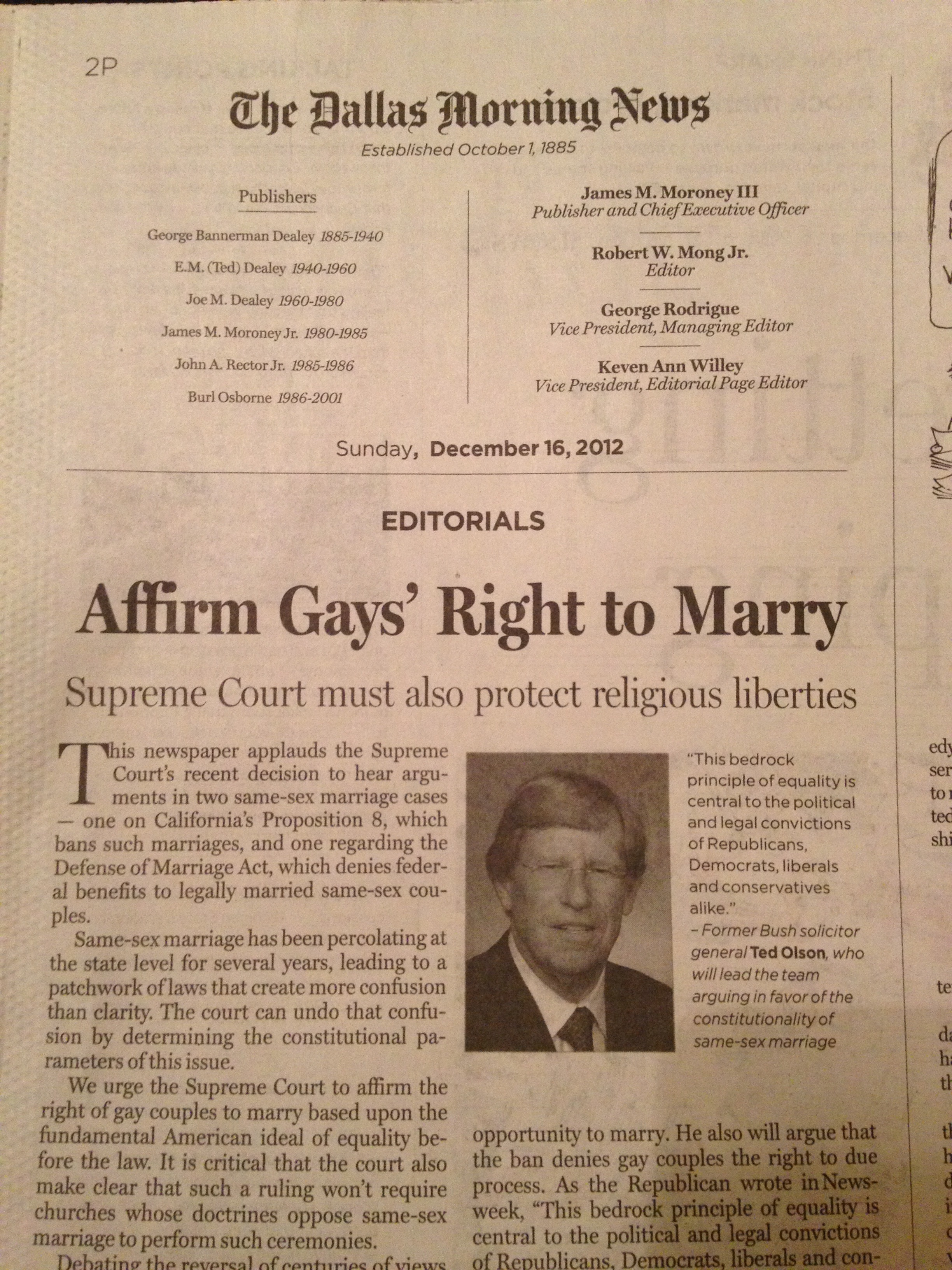 UPDATED: The Dallas Morning News endorses marriage equality