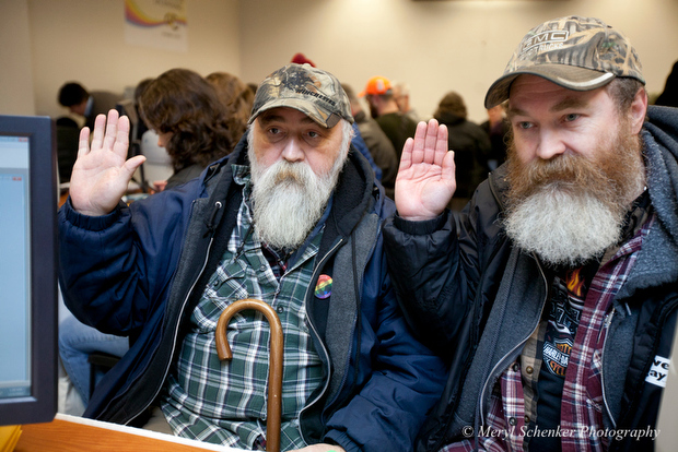 Gay couple in viral Washington state marriage photo originally from Dallas