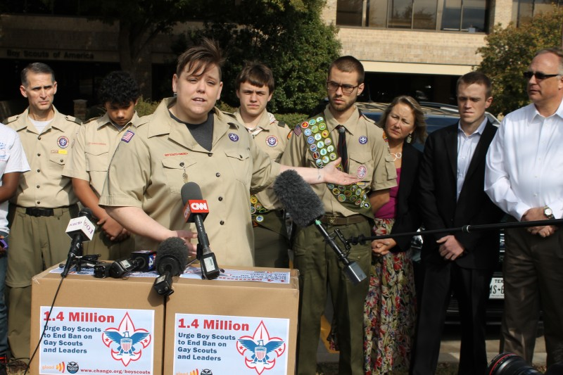 WATCH: Gay Scouts, leaders deliver petitions to BSA headquarters
