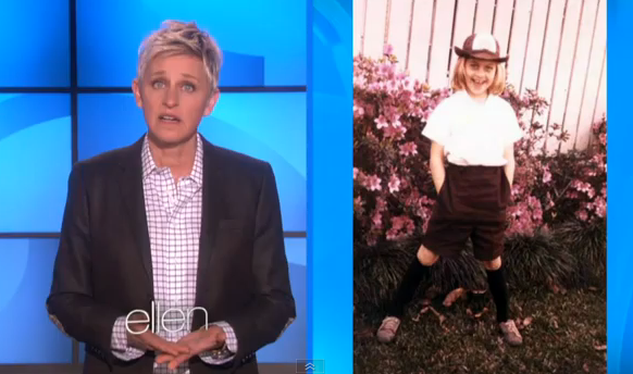Ellen DeGeneres and her younger self as a Girl Scout.