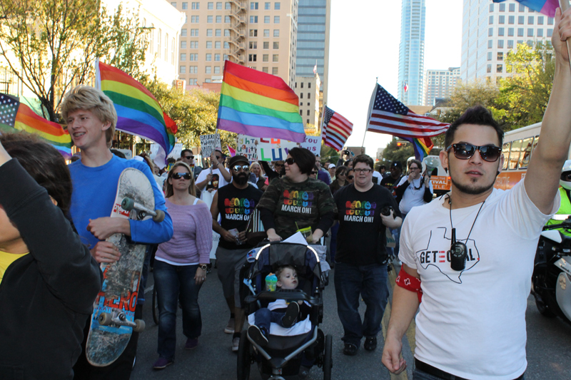 LGBT advocates march in Downtown Austin to the state capitol during GetEQUAL TX's Texas March for LGBT Justice on March 10, 2013. (Anna Waugh/ Dallas Voise)