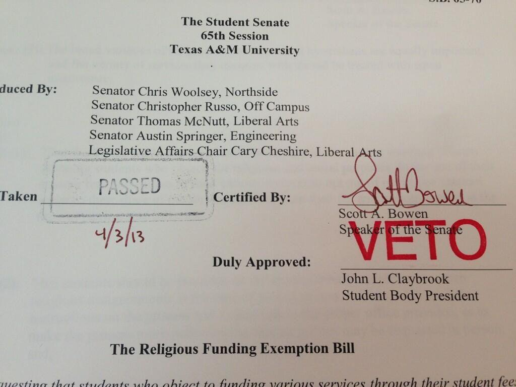 BREAKING: Texas A&M student body president vetoes illegal, anti-gay bill