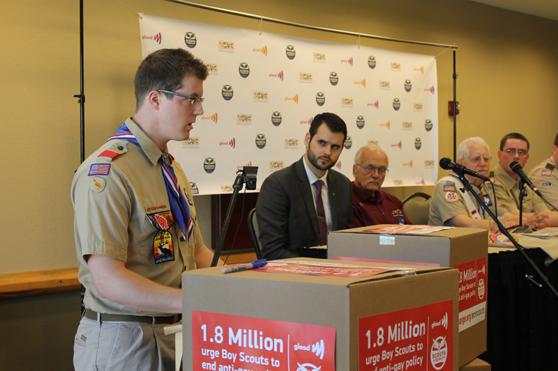 Eric Hay, who earned his Eagle Scout through Dallas-based Circle Ten Council, speaks about how he left Boy Scouts after he came out and was not allowed to be an adult leader. (Anna Waugh/Dallas Voice)