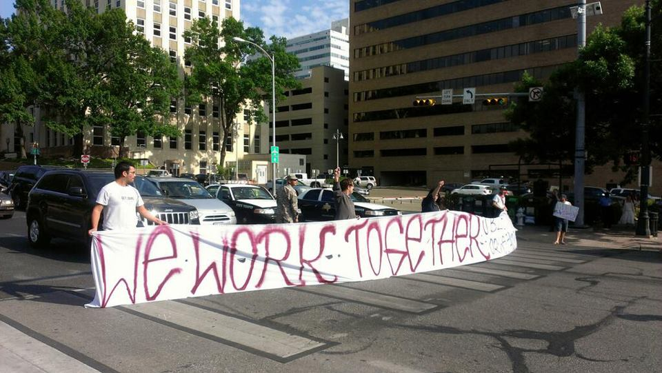 5 GetEQUAL TX activists arrested for blocking traffic in Austin ENDA protest