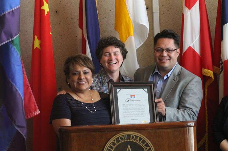 Mayor Pro Tem Pauline Medrano, left, holds the Pride proclamation with LGBT Task Force members Pam Gerber and Omar Narvaez. (David Taffet/DallasVoice)