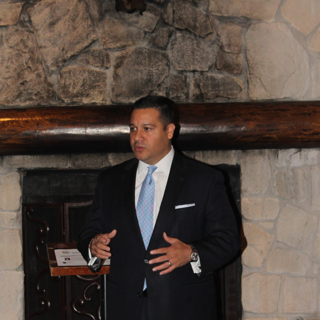 State Rep. Jason Villalba speaks at a Log Cabin Republicans of Dallas meeting Tuesday. (Anna Waugh/Dallas Voice)