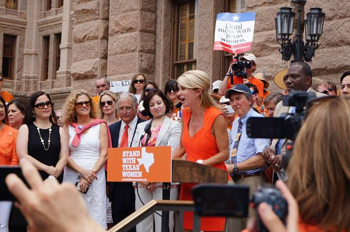 State Sen. Wendy Davis addreses protesters at a rally in Austin Monday. (Texas Democratic Party via Facebook)