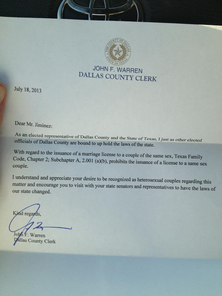 dallas county clerk john warren issued a letter thursday explaining
