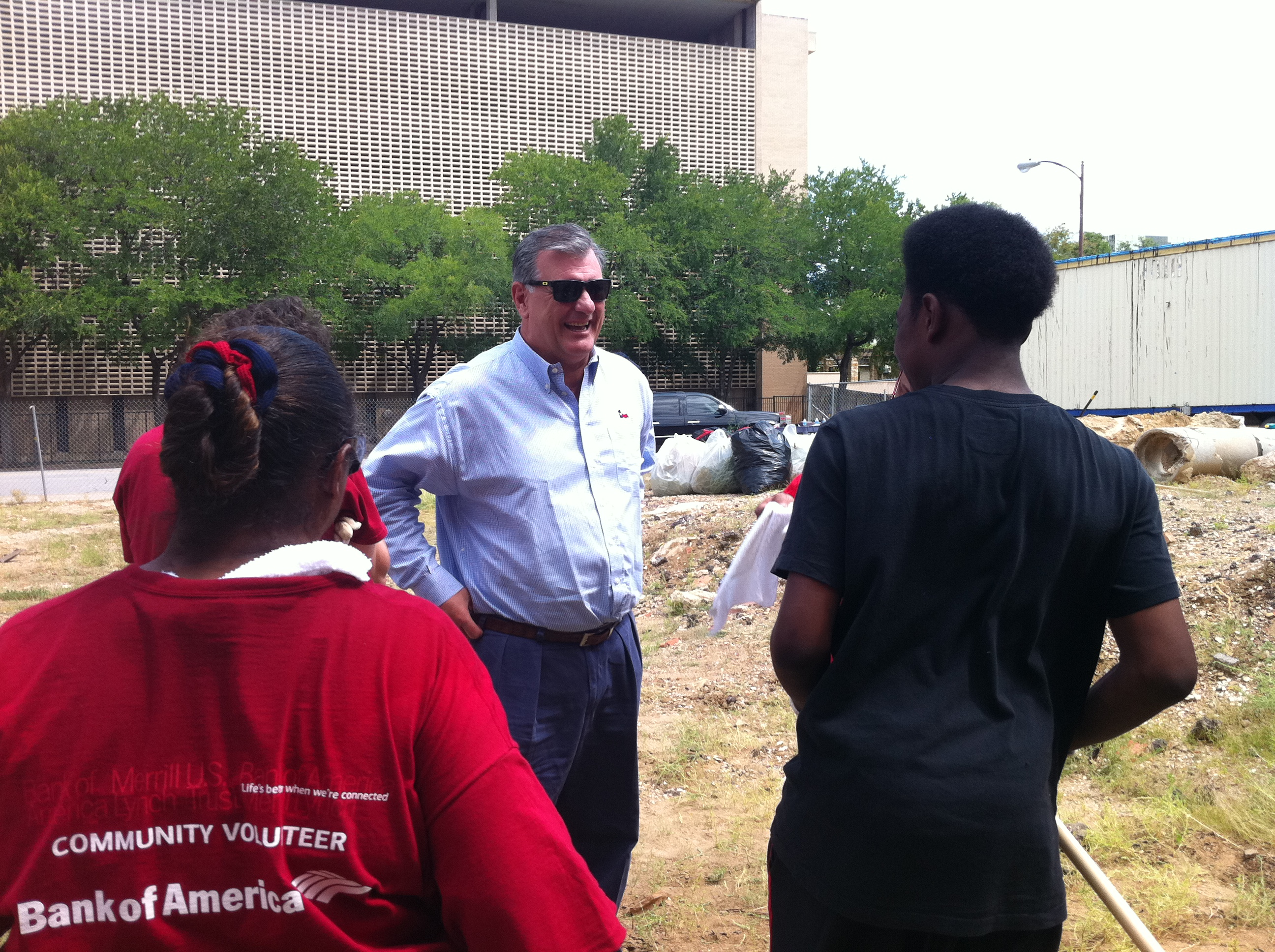 Dallas Mayor Mike Rawlings visits LGBT Pride Month event