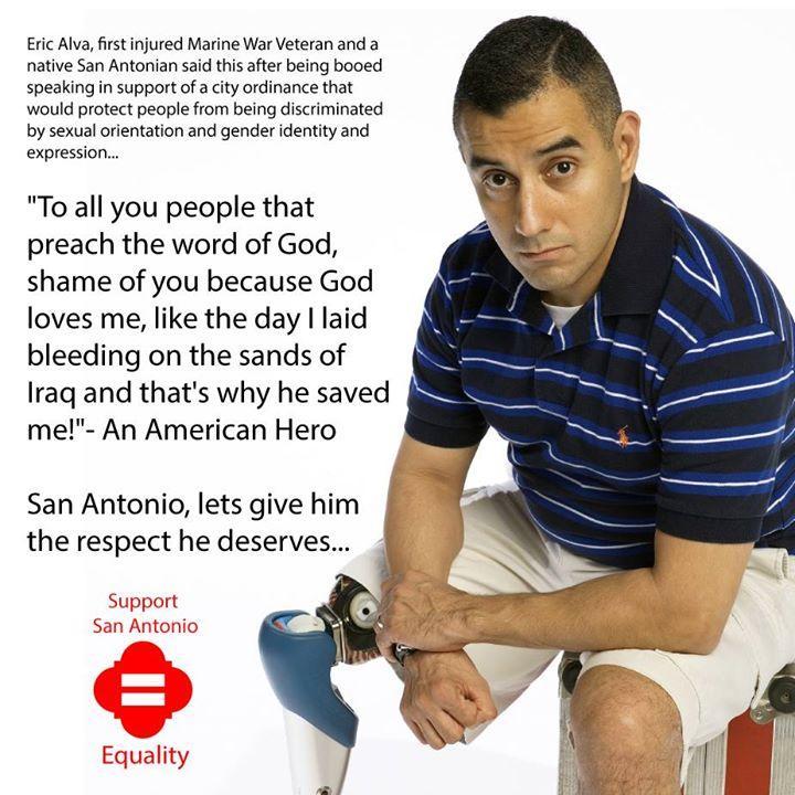 Anti-gay protesters boo gay Marine vet Eric Alva, who lost leg in Iraq War
