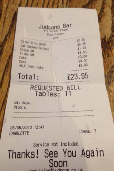 Is what the server put on this receipt offensive?
