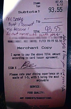 Restaurant patron denies server and former Marine tip for being gay