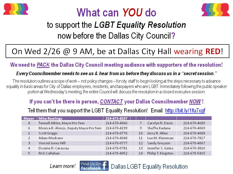 LGBT advocates plan to red out Dallas City Council meeting tomorrow