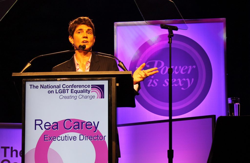 Rea Carey, executiove director of the Natinla Gay and Lesbian Task Force, speaks about the future of the LGBT movement at  the Creating Change conference in Houston. (Jessica Borges/Dallas Voice)