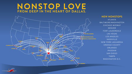 Fly coast to coast from Oak Lawn's Love Field this fall