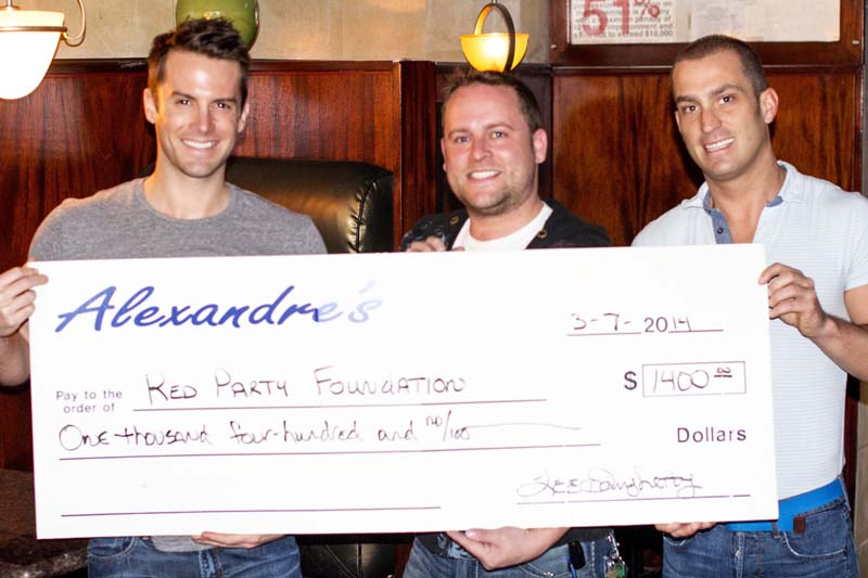 Alexandre's donates to Red Party Foundation and Needle Prick Project