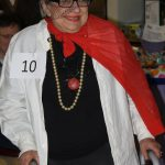 Winner of the costume contest: Eleanor Tractenberg dressed as a newsaper (she's black and white and red all over)