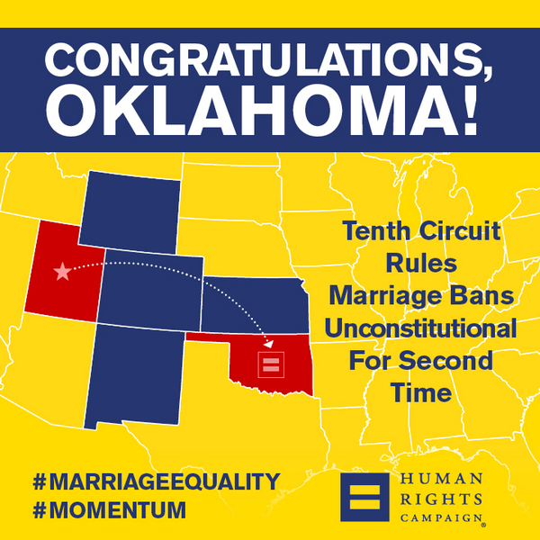 BREAKING: 10th Circuit says OK marriage ban is unconstitutional