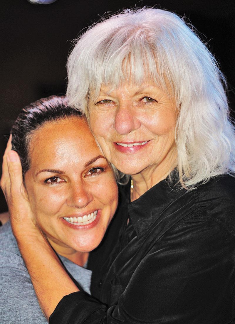 Kathy Corbin and her nom at Sue Ellen's.