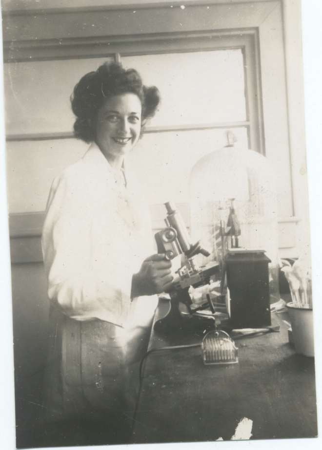 Claire in Lab 1940's