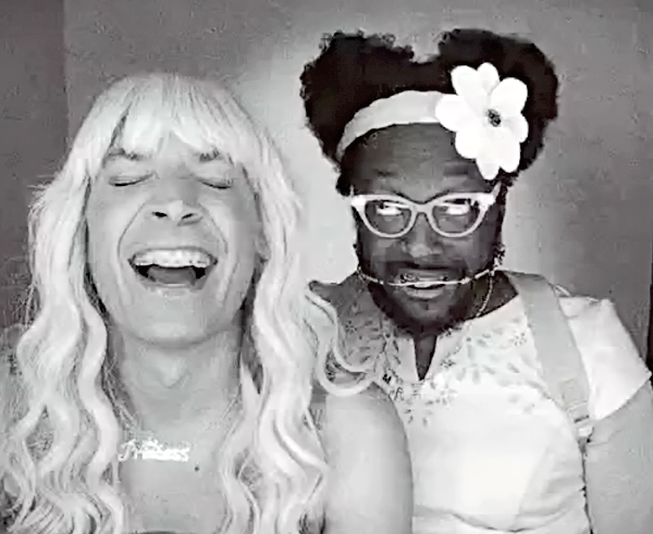 Ew! Jimmy Fallon and will.i.am drag it up for 2 good causes