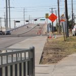 Four of the six lanes of the new Sylvan Avenue Bridge are open. The trail passed under Sylvan/Wycliff