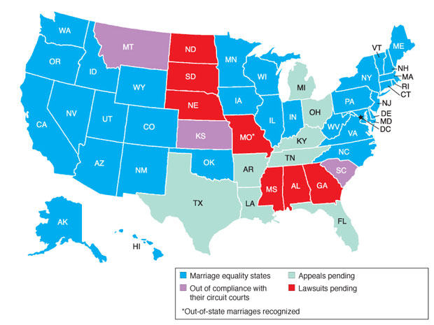 Marriage equality updates from around most of the country … but not Texas