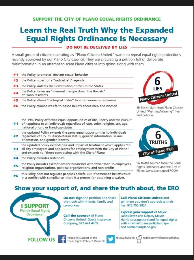 Plano group releases flier supporting equal rights ordinance