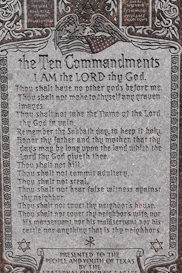 The Texas Capitol's 11 Commandments monument