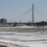 The Angela Hunt Bridge from on top of the levee