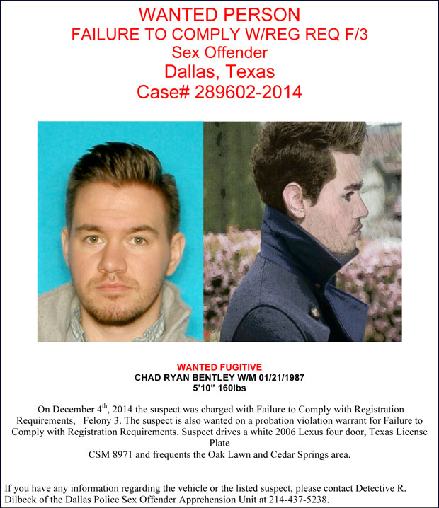 UPDATE: Police are looking for Chad Ryan Bentley