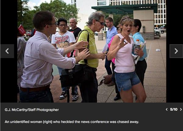 David attacks protester