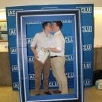 posed at ACLU booth
